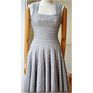 Alaia Grey Perforated Knit Dress